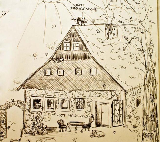 Nasz dom w rysunku gościa agroturystycznego, z kotami