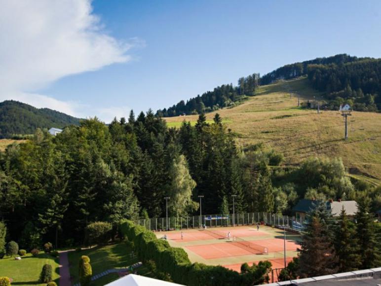 Widok na korty tenisowe