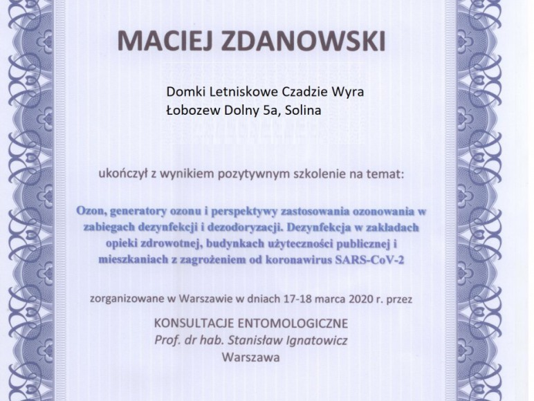 Certyfikat dezynfekcji
