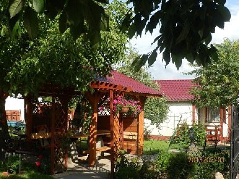 altana w ogrodzie z domkiem w tle